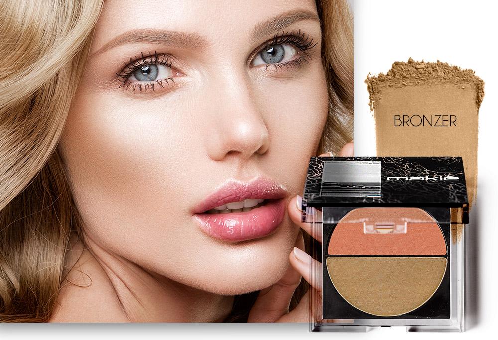 Na imagem o rosto de uma mulher ao lado esquerdo e do lado direito o produto blush com a textura da cor Bronzer.