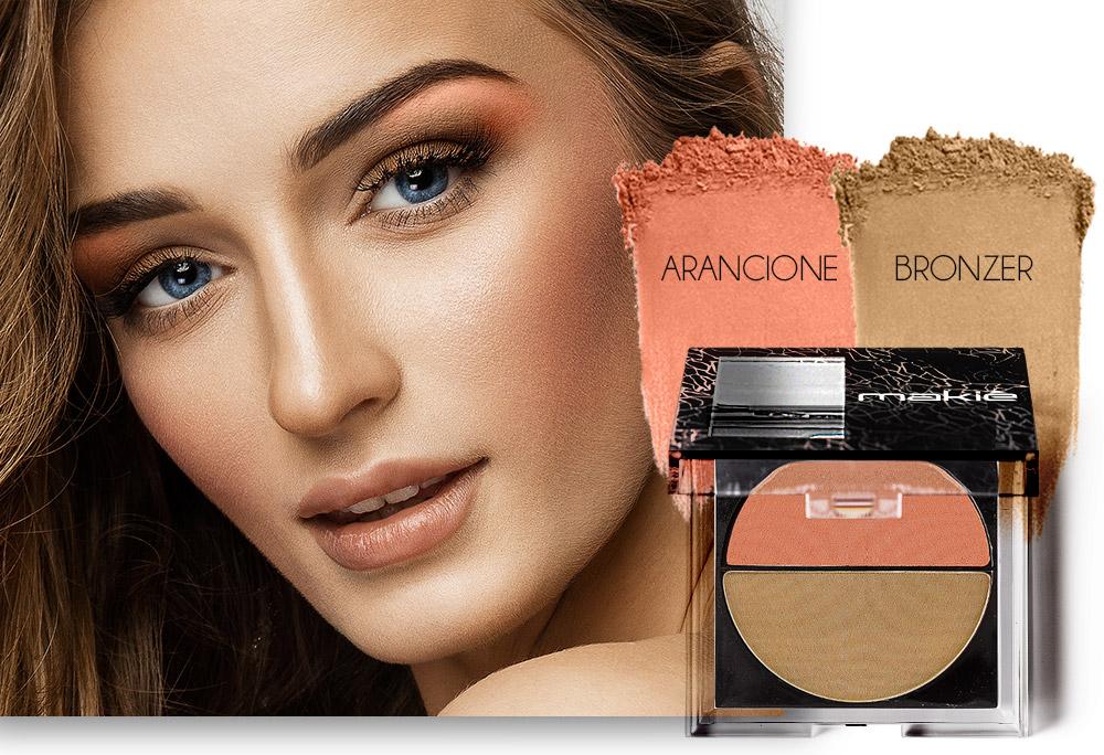 Na imagem o rosto de uma mulher ao lado esquerdo e do lado direito o produto blush com a textura das cores Arancione e Bronzer.