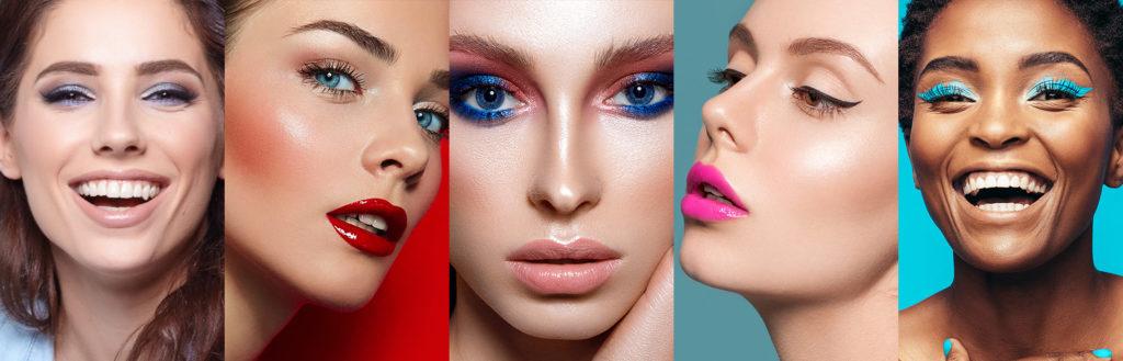 Ilustrações com exemplos de maquiagem perfeita para a primavera.