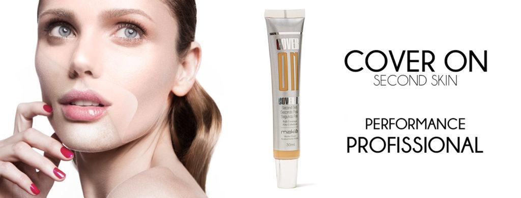 Ao lado esquerdo a imagem do rosto feminino ilustrando o efeito de segunda pele e ao lado direito a base Cover On, base para pele oleosa.