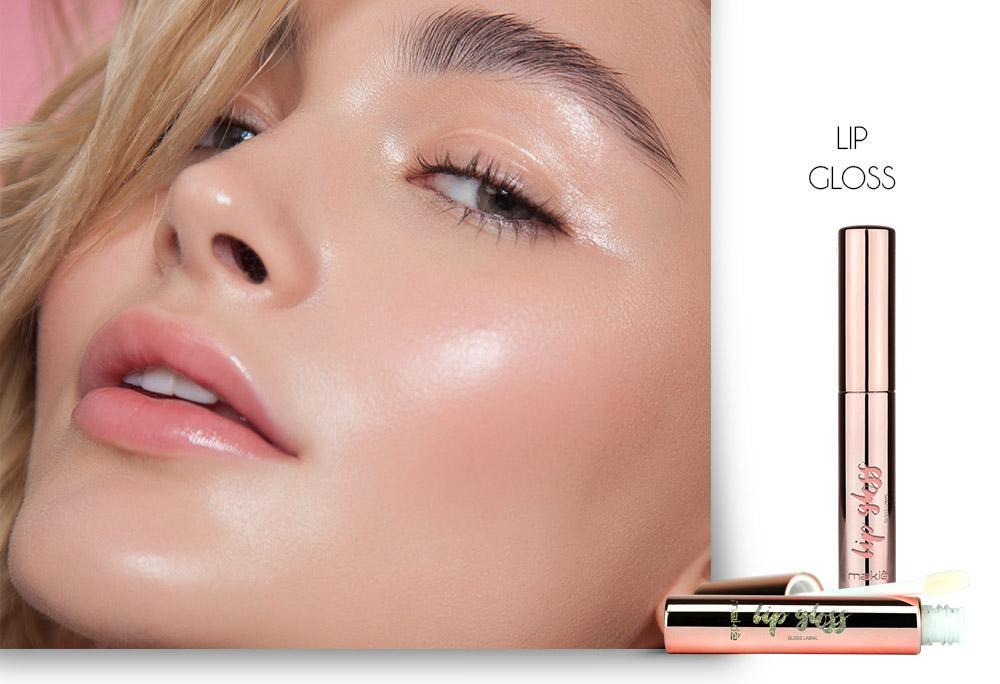 Na esquerda o rosto de uma mulher  e do lado direito o Lip Gloss Makiê sobre fundo branco, ilustrando os produtos para uma maquiagem simples para o dia a dia.