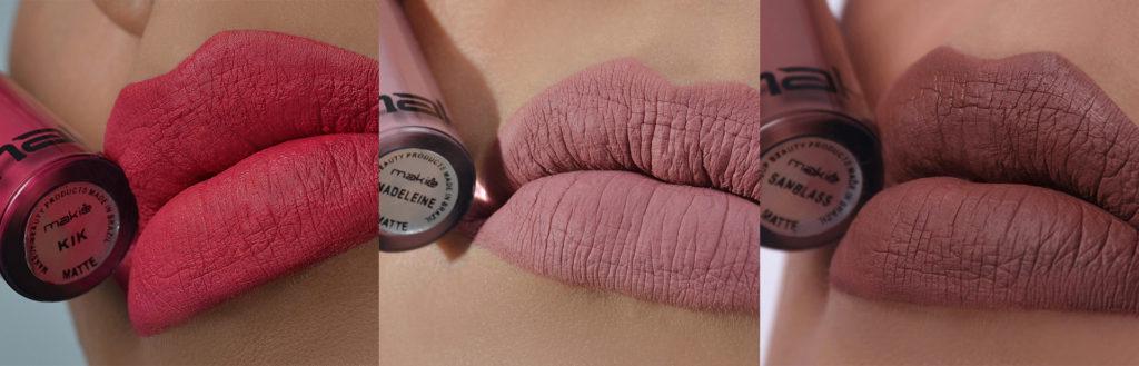 Imagem ilustrando nos lábios as novas cores do batom Makiê.