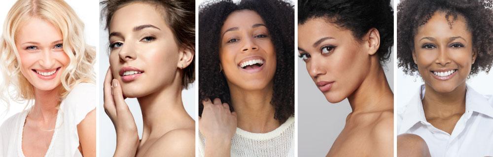 Imagem ilustrando a basse matte nos rostos femininos.