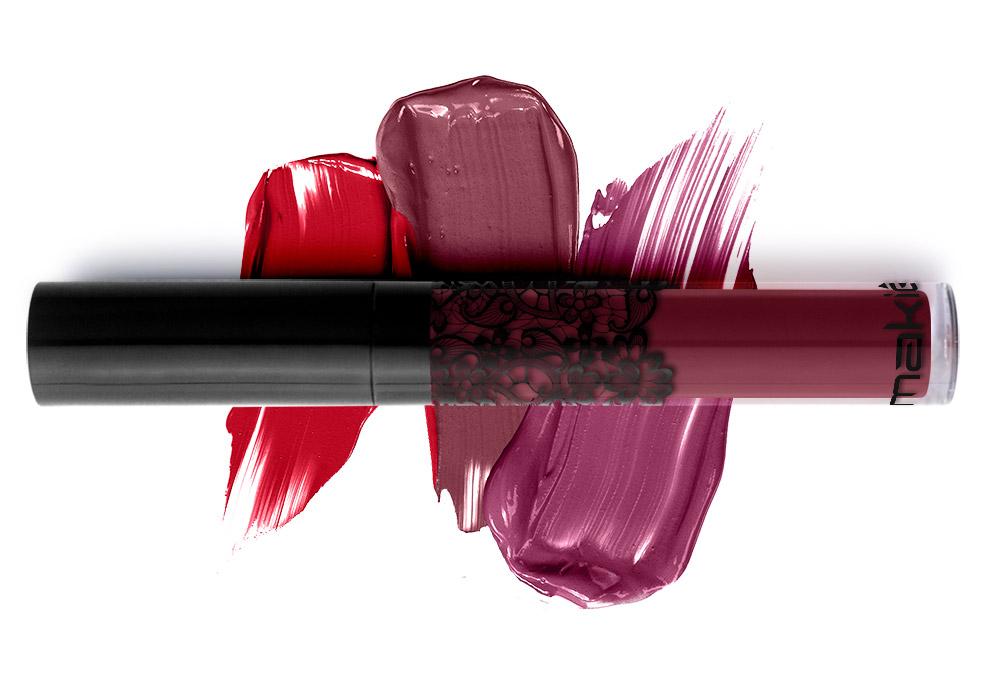 Imagem de cores do batom líquido matte, ilustrada na maquiagem para pele morena.