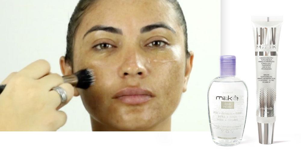 Imagem ilustrando os produtos certos para preparar a pele com melasma, antes da maquiagem.