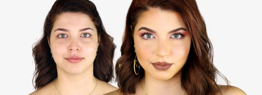 Maquiagem para o natal com o antes e depois do rosto da modelo.