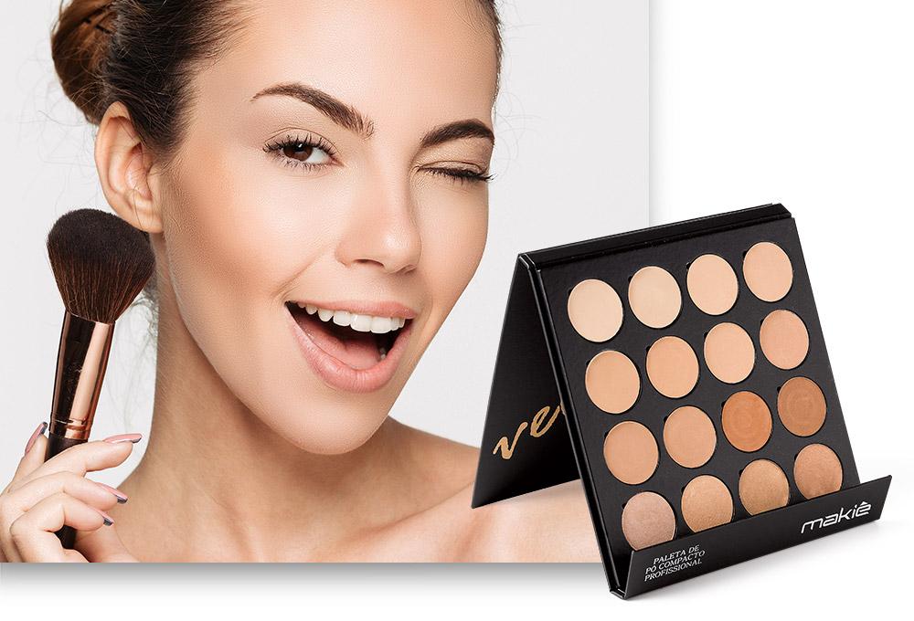 Imagem ilustrando como ter uma pele bonita. Do lado esquerdo o rosto de uma mulher e ao lado direito o produto Paleta de Pó Velvet.